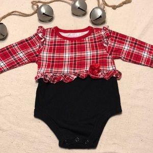 Baby Girl Holiday Plaid onesie